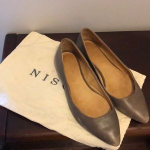 Nisolo Gray Leather Flats